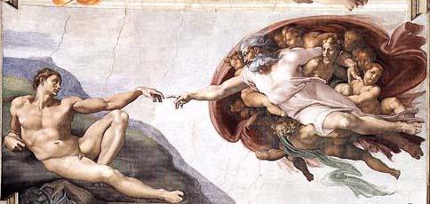 Criação de Adão no teto da Capela Sistina.