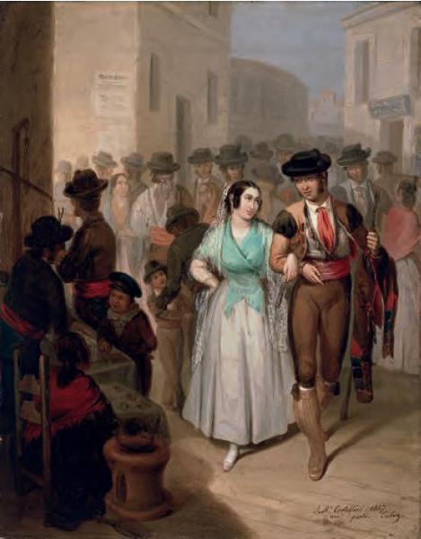 Salida de la plaza, Ángel María Cortellini Hernández, 1847, óleo sobre tela, Coleção Carmen Thyssen-Bornemisza, Madri.