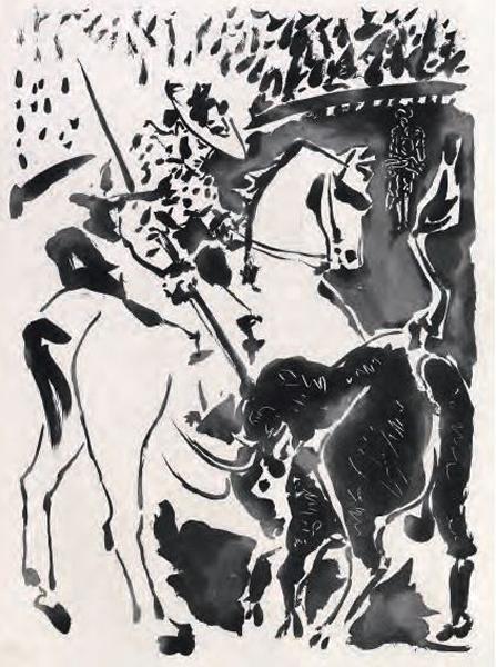 Picador et taureau II, Pablo Picasso, 1949, ilustração do livro Le Carmen des Carmen de Prosper Mérimée e Louis Aragon (1964), coleção Fundação Bancaja.