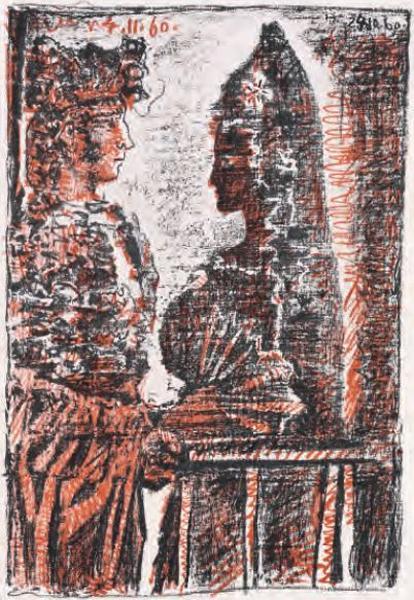 Torero Y Señorita, Pablo Picasso, 1960, ilustração do livro Le Carmen des Carmen de Prosper Mérimée e Louis Aragon (1964).