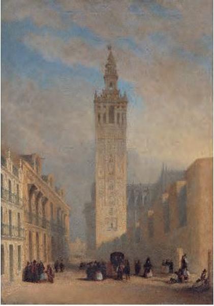 La Giralda, vista desde la calle Placentines, José Domínguez Bécquer, c. 1836, óleo sobre tela, Coleção Carmen Thyssen-Bornemisza, Madri.