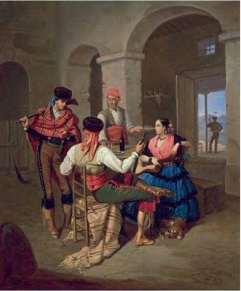 Escena en una venta, Manuel Cabral Aguado Bejarano, 1855, óleo sobre tela, Coleção Carmen Thyssen-Bornemisza, Madri.