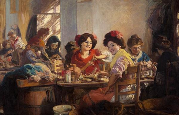 Las cigarreras en la fábrica, 1910, óleo sobre tela, Altadis, Madri.