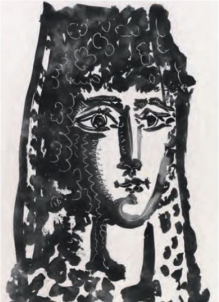 Femme à la mantille: Carmen, Pablo Picasso, 1949, ilustração do livro Le Carmen des Carmen de Prosper Mérimée e Louis Aragon (1964), coleção Fundação Bancaja.