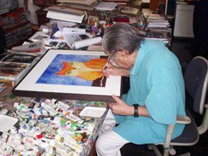 Aldemir Martins trabalhando em seu estúdio.