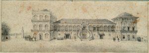 Litogravura - Palácio de São Cristovão residência oficial dos Imperadores do Brasil - Jean Baptiste Debret - século XIX