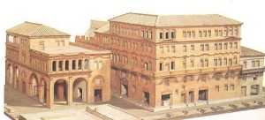 Desenho com a reconstituição das casas populares romana.