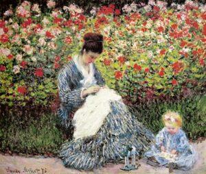 Camille Monet e seu filho no Jardim - Claude Monet