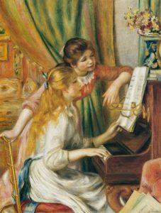 Suas jovens Filhas ao piano - Pierre Auguste Renoir.
