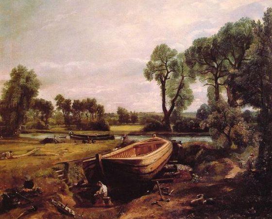 Construção de Barco Perto do Moinho de Flatford, John Constable