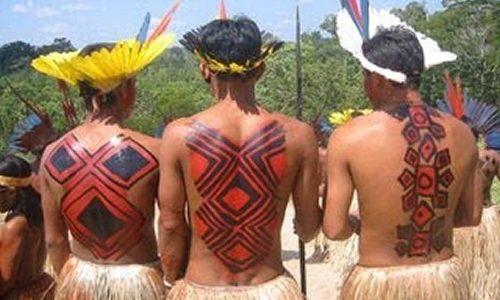 Álbum de interpretações da arte corporal e plumária indígena