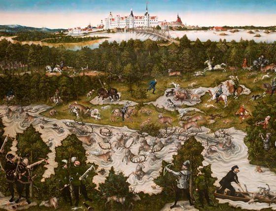 Caçadas no Castelo de Torgau, Lucas Cranach, o Velho